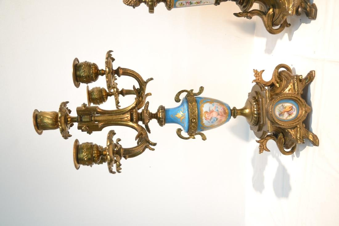 (3) FRENCH GILT METAL & SEVRES STYLE CLOCK SET - 6