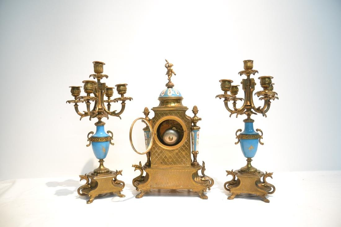 (3) FRENCH GILT METAL & SEVRES STYLE CLOCK SET - 7