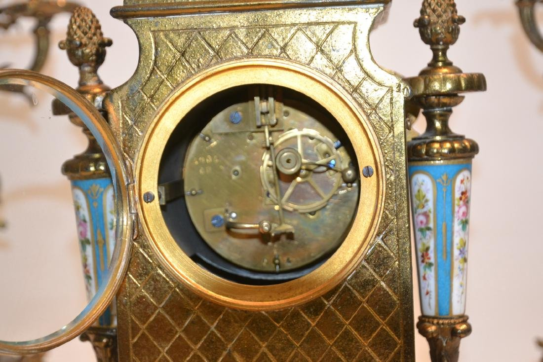 (3) FRENCH GILT METAL & SEVRES STYLE CLOCK SET - 8