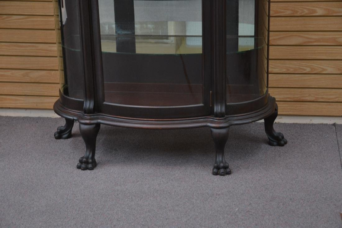CARVED MAHOGANY CURVED FRONT CHINA CABINET - 3