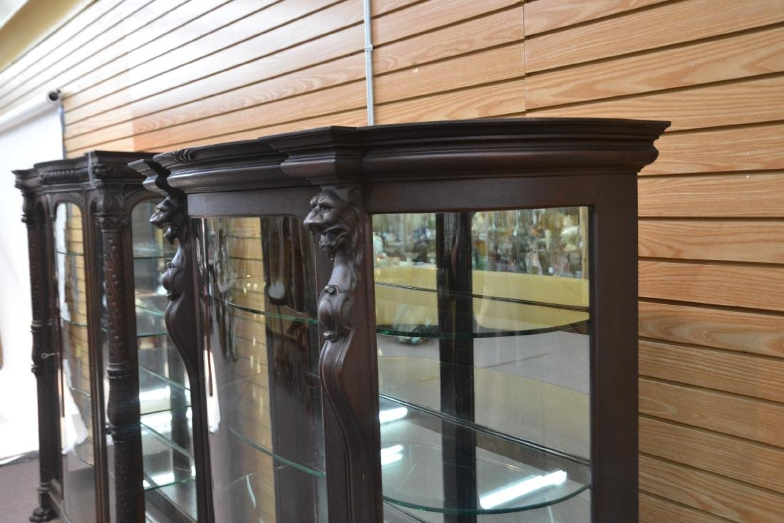 CARVED MAHOGANY CURVED FRONT CHINA CABINET - 6