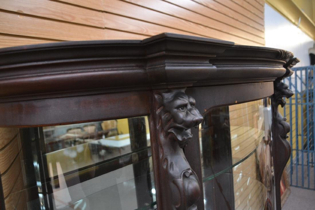 CARVED MAHOGANY CURVED FRONT CHINA CABINET - 8