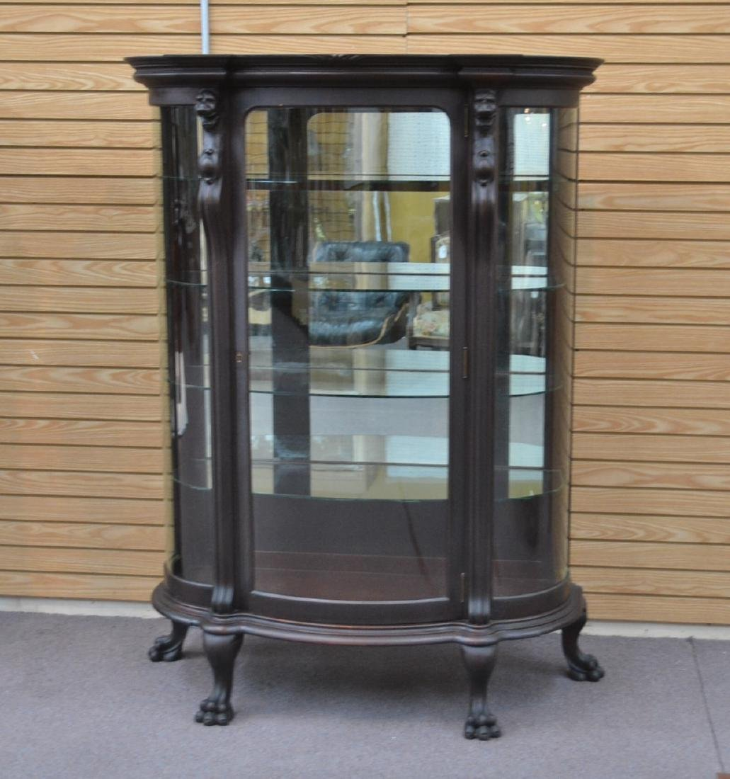 CARVED MAHOGANY CURVED FRONT CHINA CABINET - 9