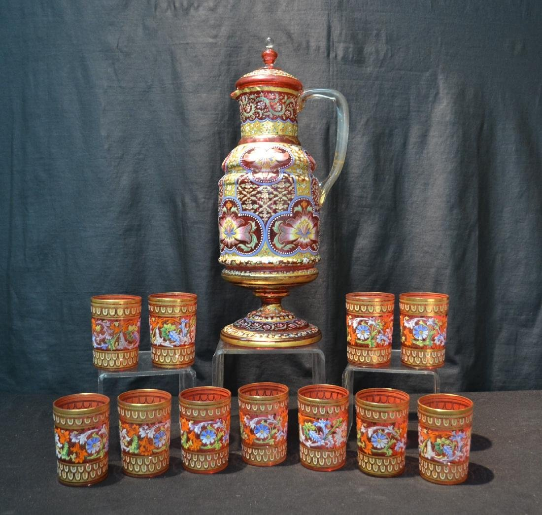LARGE MOSER BOHEMIAN GLASS TANKARD & (11) CUPS