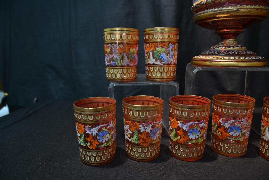 LARGE MOSER BOHEMIAN GLASS TANKARD & (11) CUPS - 5