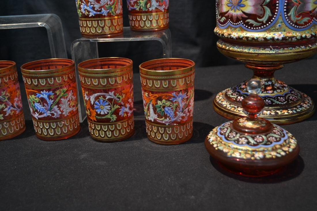 LARGE MOSER BOHEMIAN GLASS TANKARD & (11) CUPS - 9