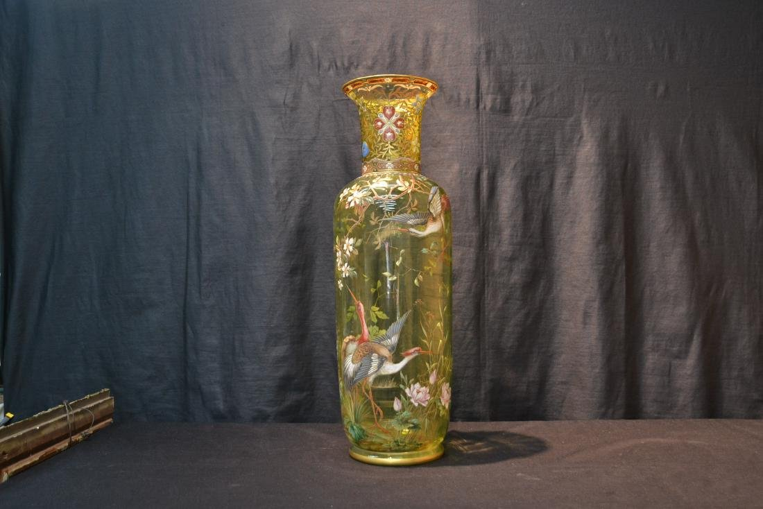 VERY LARGE ENAMELED MOSER ? GLASS VASE - 2