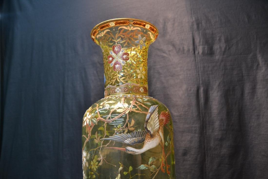 VERY LARGE ENAMELED MOSER ? GLASS VASE - 4