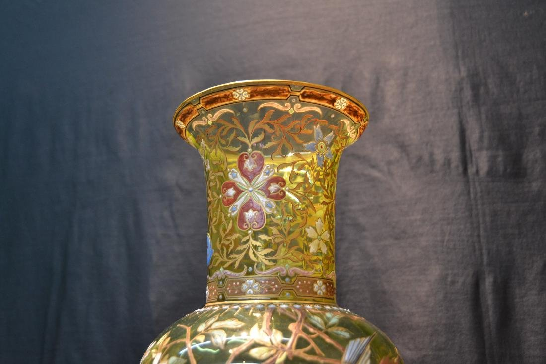 VERY LARGE ENAMELED MOSER ? GLASS VASE - 5