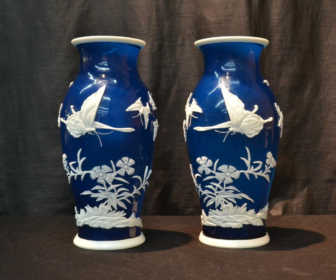 (Pr) LARGE BLUE PEKING GLASS VASES WITH