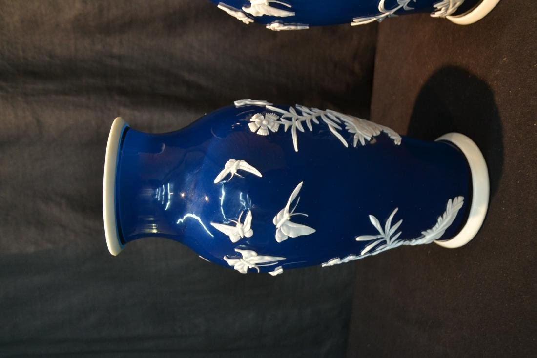 (Pr) LARGE BLUE PEKING GLASS VASES WITH - 4