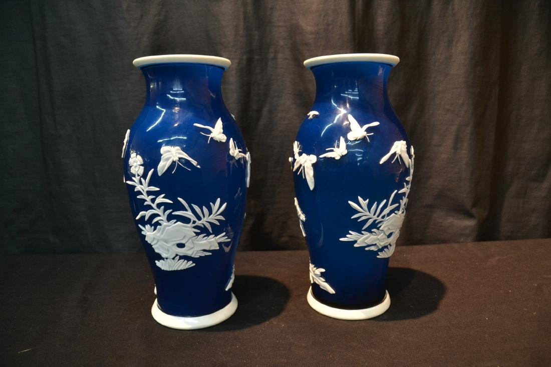 (Pr) LARGE BLUE PEKING GLASS VASES WITH - 5