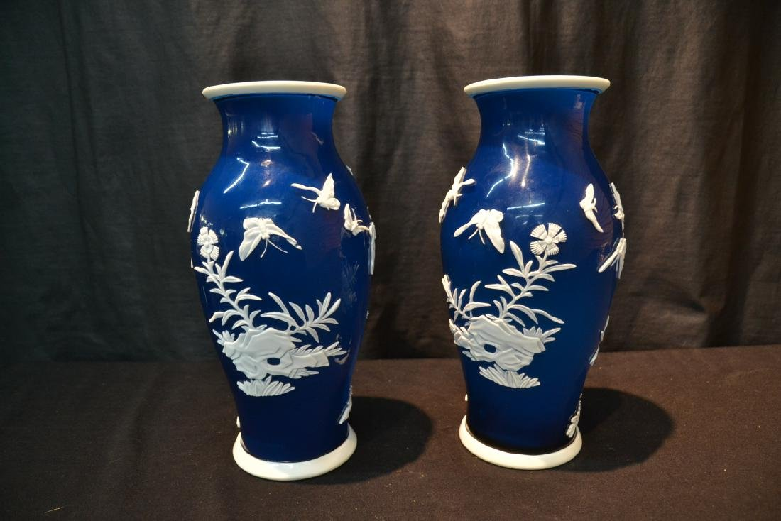 (Pr) LARGE BLUE PEKING GLASS VASES WITH - 6