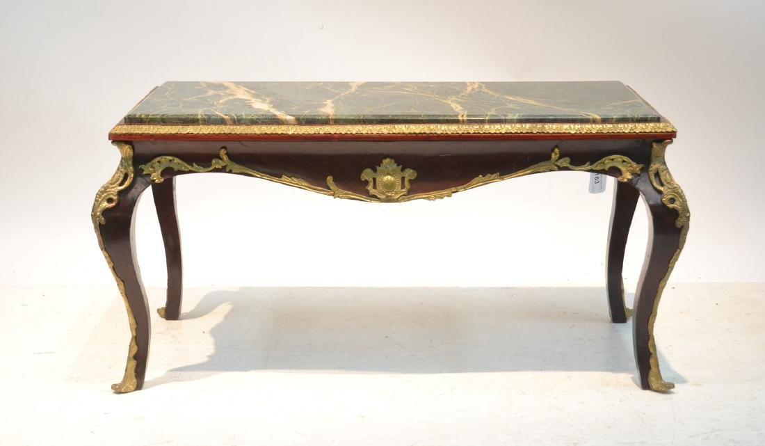 MARBLE TOP COFFEE TABLE WITH BRONZE MOUNTS