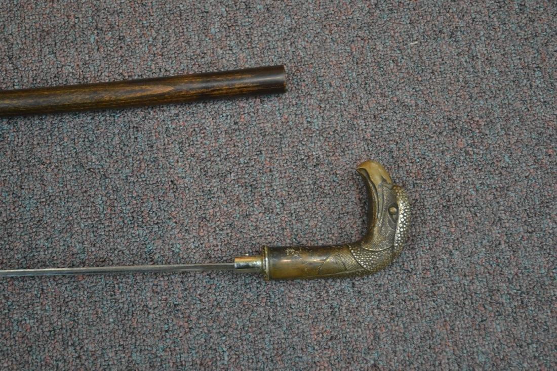 SWORD CANE WITH BRONZE BIRD HEAD HANDLE - 8