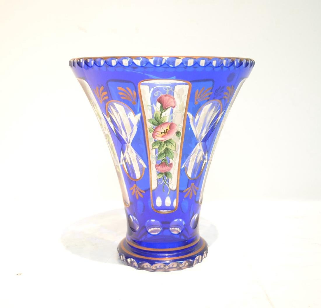 BLUE BOHEMIAN VASE WITH HAND PAINTED FLOWERS