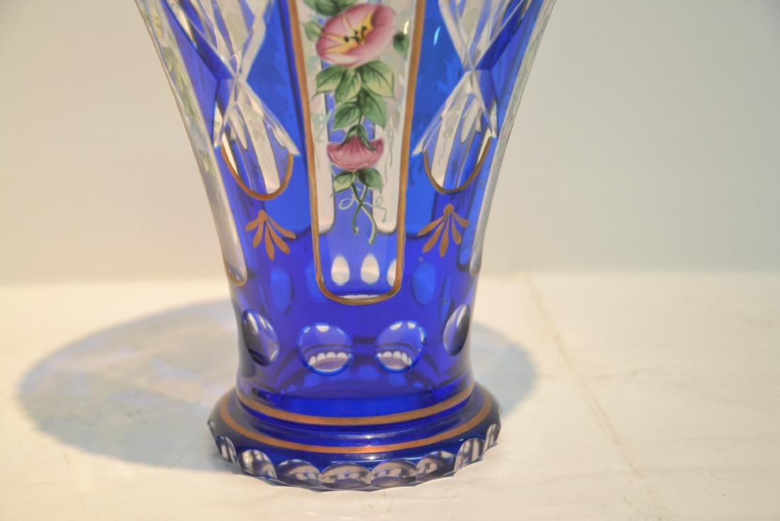 BLUE BOHEMIAN VASE WITH HAND PAINTED FLOWERS - 4
