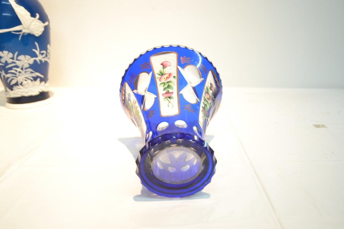 BLUE BOHEMIAN VASE WITH HAND PAINTED FLOWERS - 8