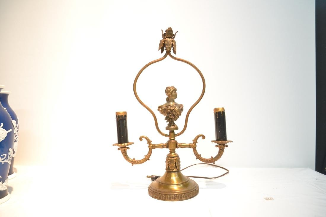 GILT METAL LAMP WITH BUST OF WOMAN IN CENTER - 2