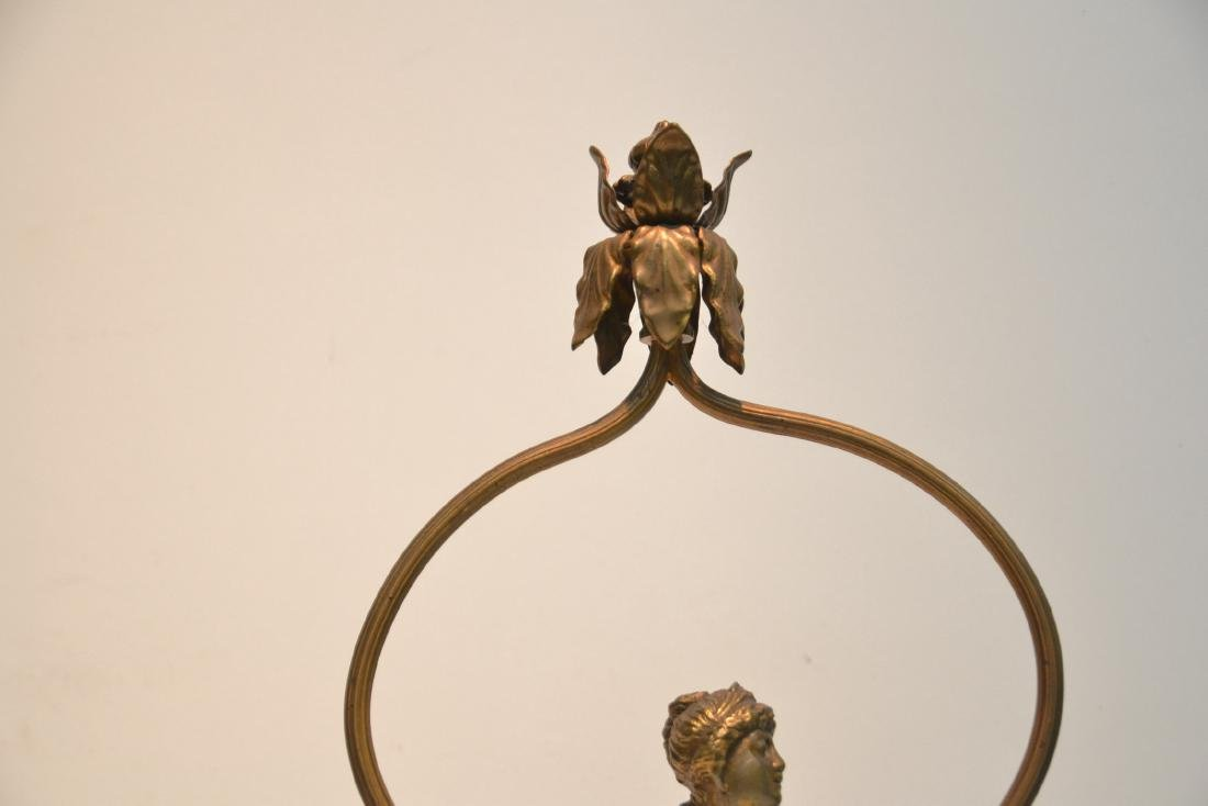 GILT METAL LAMP WITH BUST OF WOMAN IN CENTER - 4
