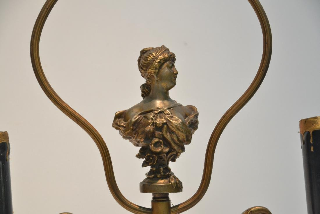 GILT METAL LAMP WITH BUST OF WOMAN IN CENTER - 5