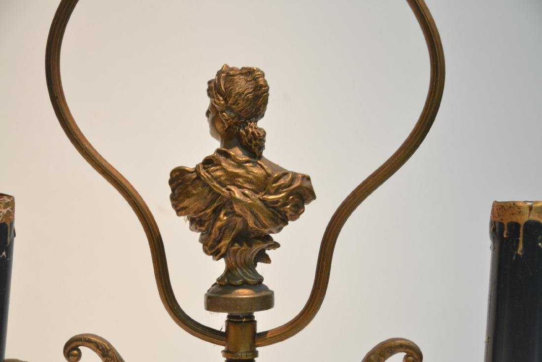 GILT METAL LAMP WITH BUST OF WOMAN IN CENTER - 7
