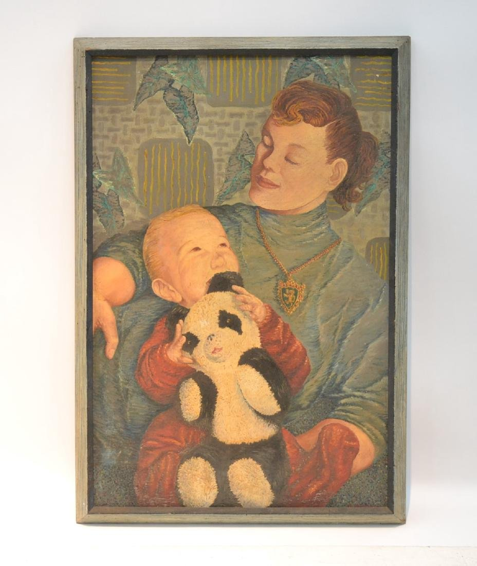OIL ON CANVAS OF MOTHER WITH CHILD SIGNED