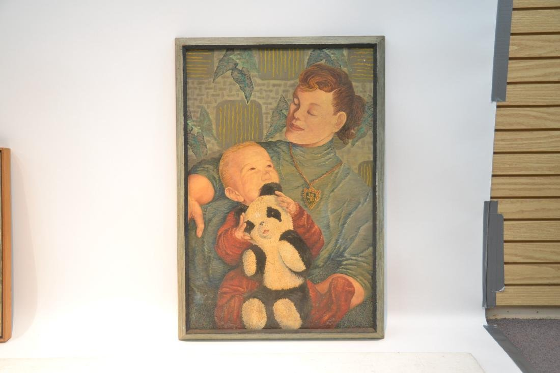 OIL ON CANVAS OF MOTHER WITH CHILD SIGNED - 2