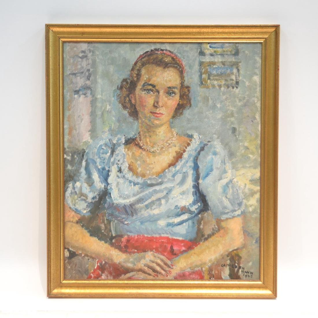 OIL ON CANVAS PORTRAIT OF WOMAN SIGNED