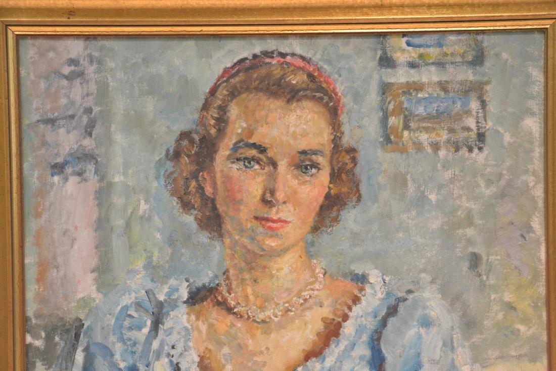 OIL ON CANVAS PORTRAIT OF WOMAN SIGNED - 3