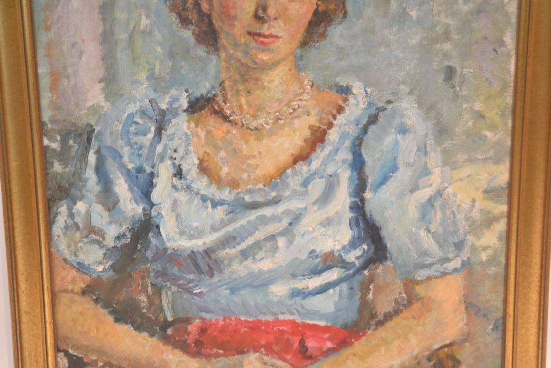 OIL ON CANVAS PORTRAIT OF WOMAN SIGNED - 4