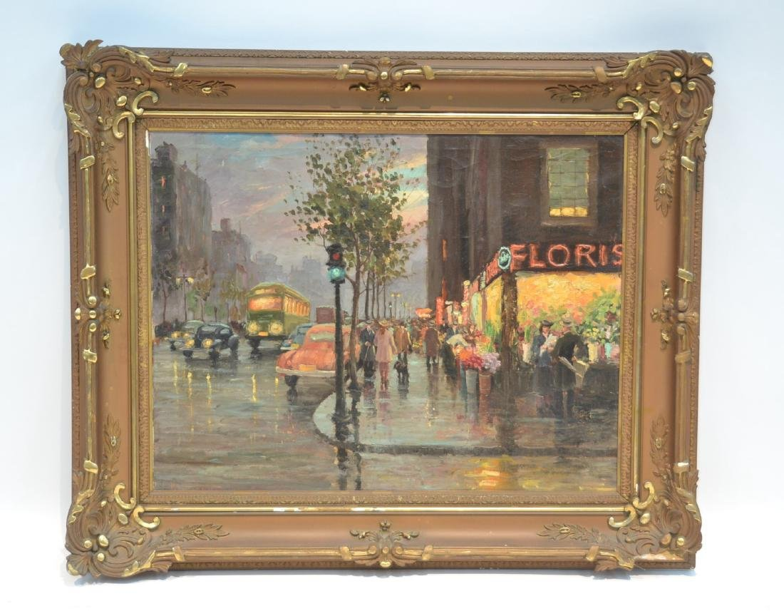 OIL ON CANVAS PARIS STREET SCENE ; SIGNED