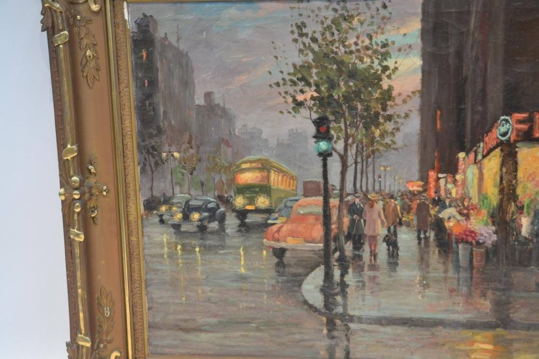 OIL ON CANVAS PARIS STREET SCENE ; SIGNED - 3