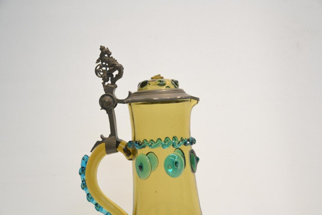 GLASS & PEWTER EWER WITH RAISED DECORATIONS - 4