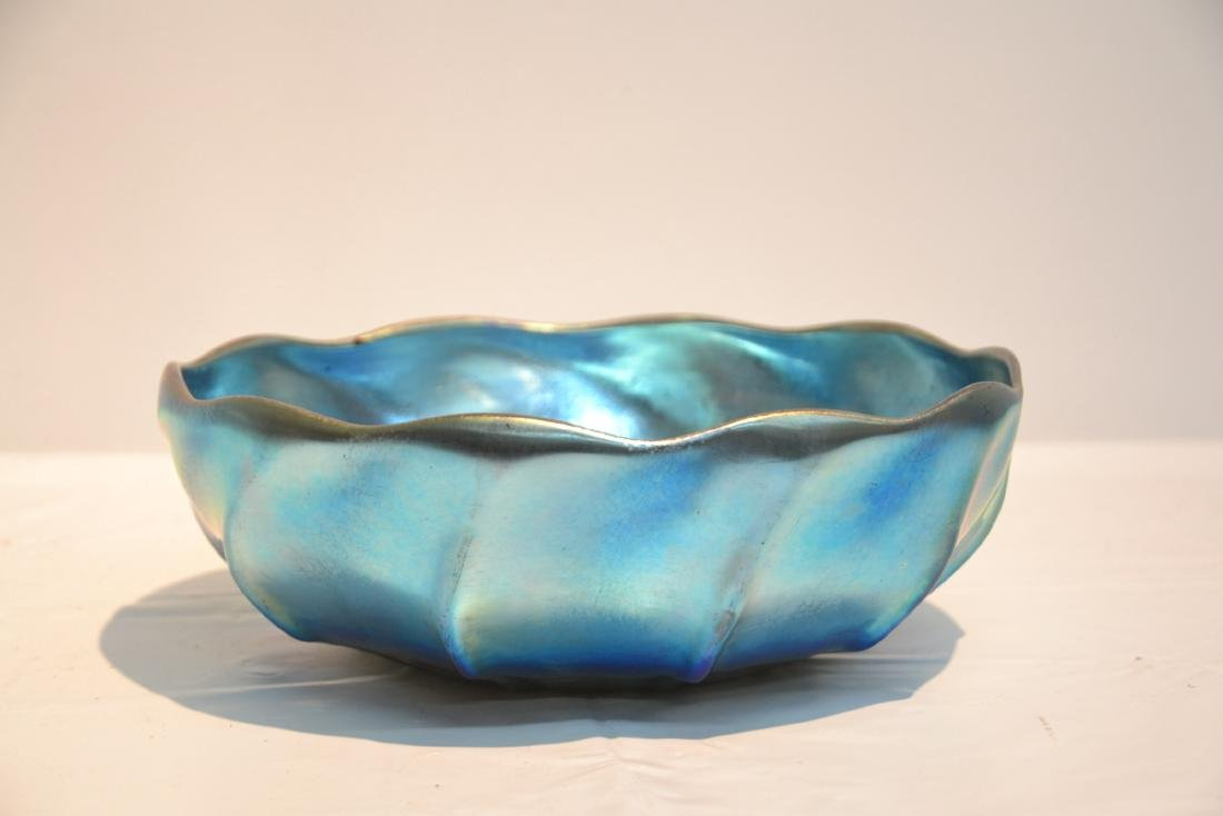 L.C TIFFANY FAVRILLE BLUE IRIDESCENT BOWL - 2