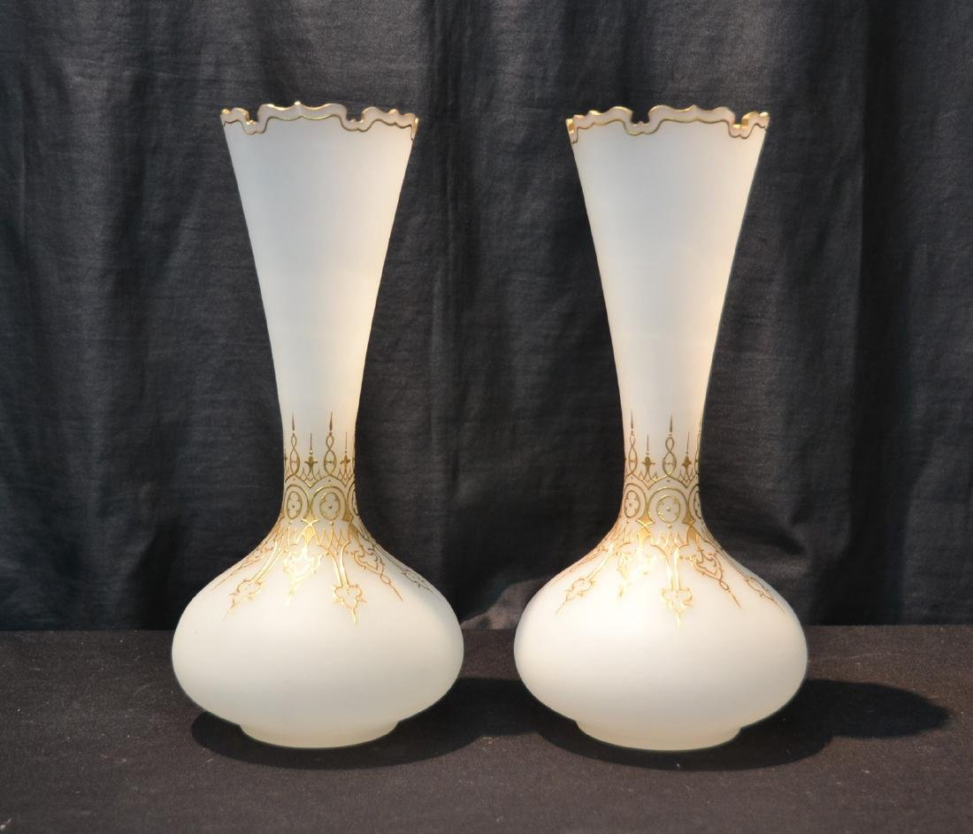 (Pr) OPALINE VASES WITH GOLD DECORATIONS