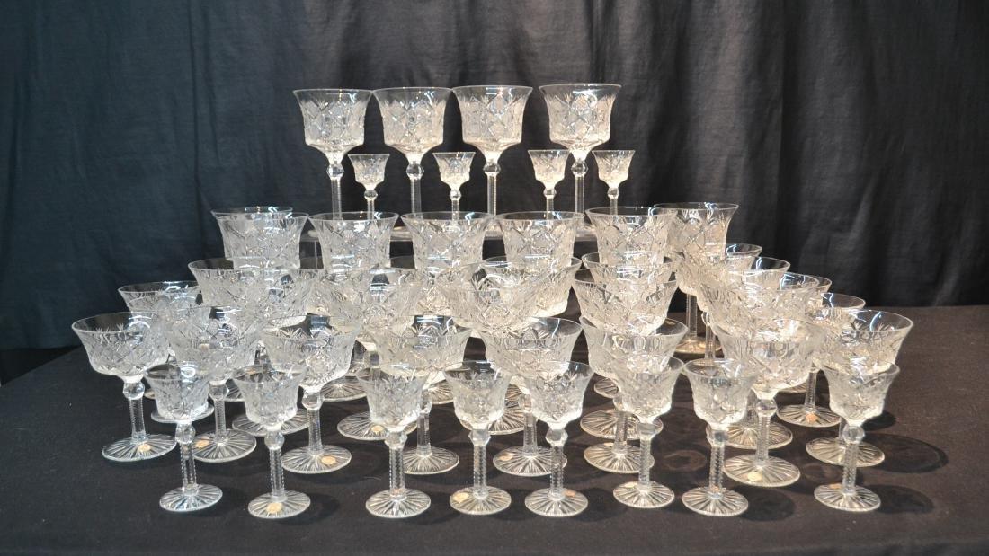 (47)pc CZECHOSLOVAKIA CUT GLASS STEMWARE