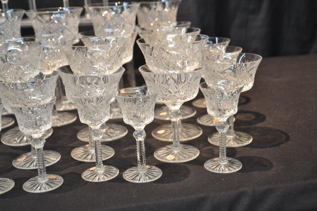 (47)pc CZECHOSLOVAKIA CUT GLASS STEMWARE - 2