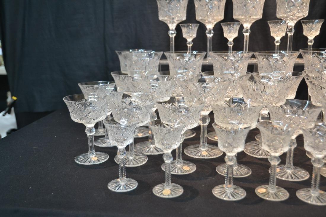 (47)pc CZECHOSLOVAKIA CUT GLASS STEMWARE - 3