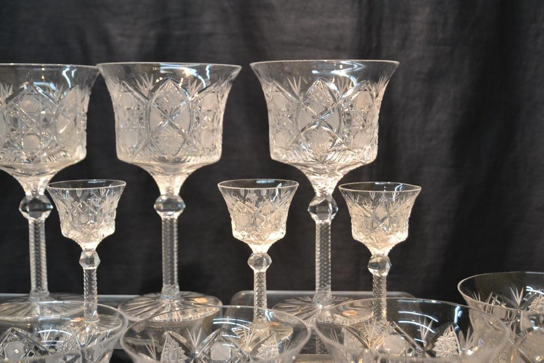 (47)pc CZECHOSLOVAKIA CUT GLASS STEMWARE - 4