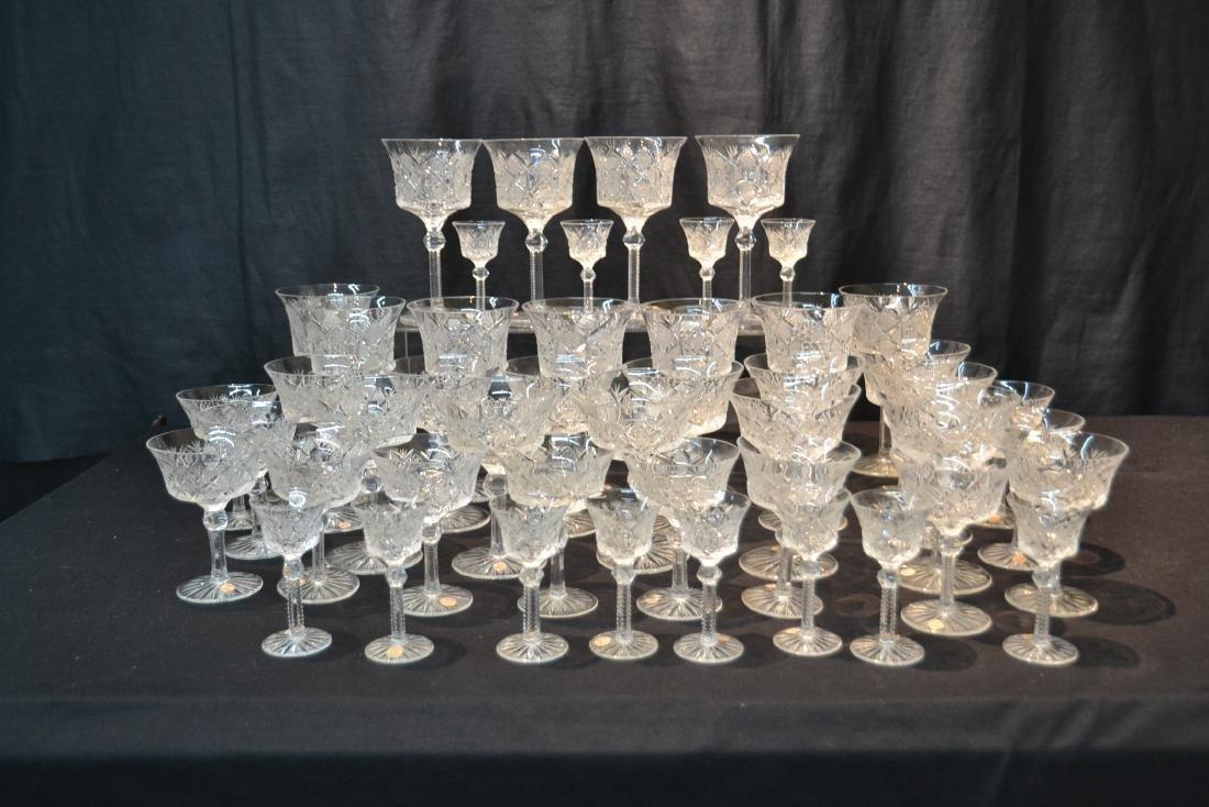 (47)pc CZECHOSLOVAKIA CUT GLASS STEMWARE - 8
