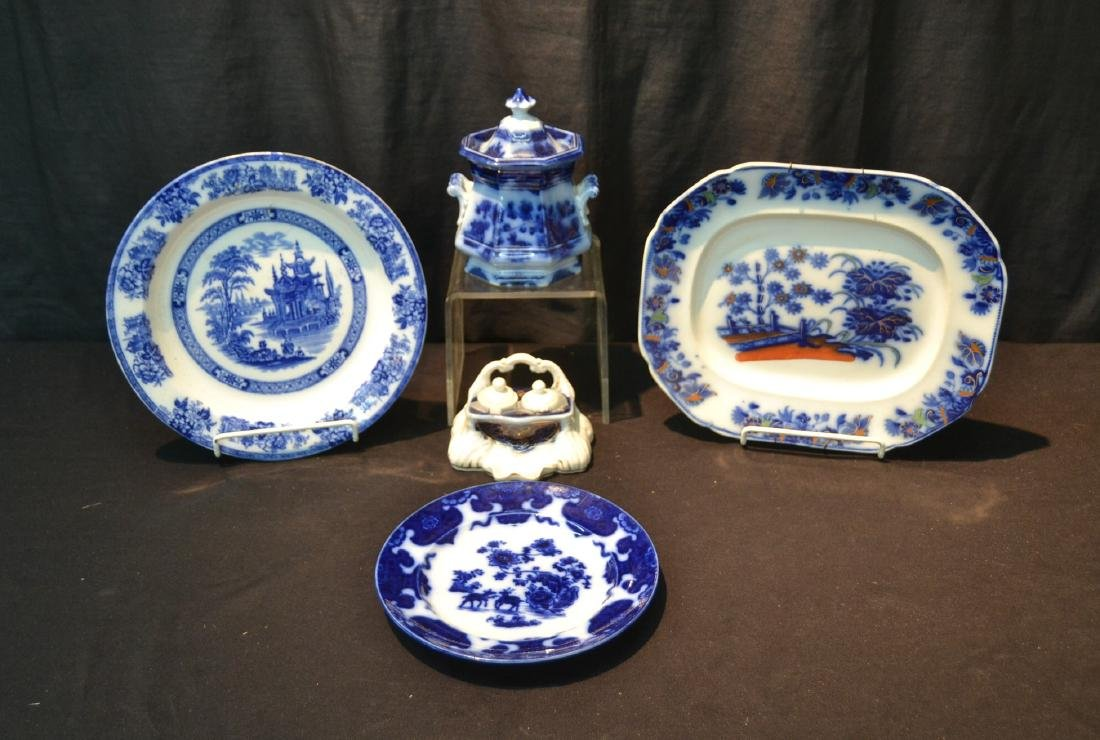 ASSORTED ANTIQUE FLOW BLUE INCLUDING PLATE,