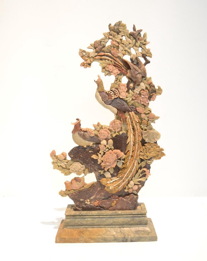 CARVED SOAPSTONE SCULPTURE OF BIRDS & FLOWERS