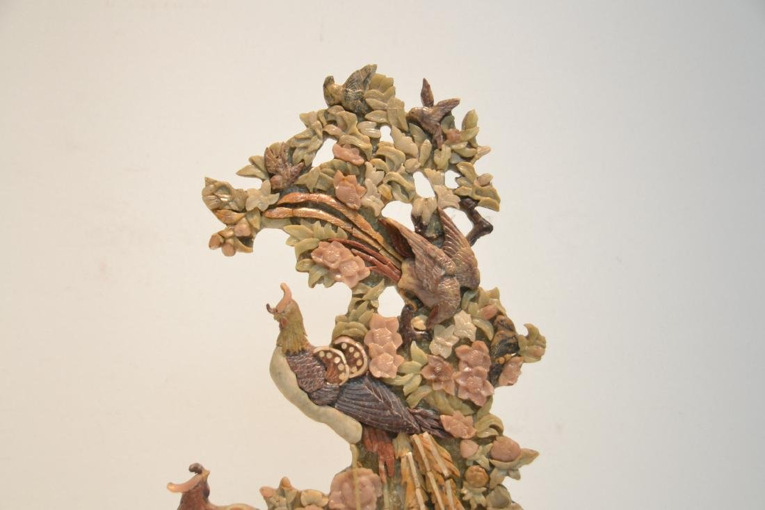 CARVED SOAPSTONE SCULPTURE OF BIRDS & FLOWERS - 2