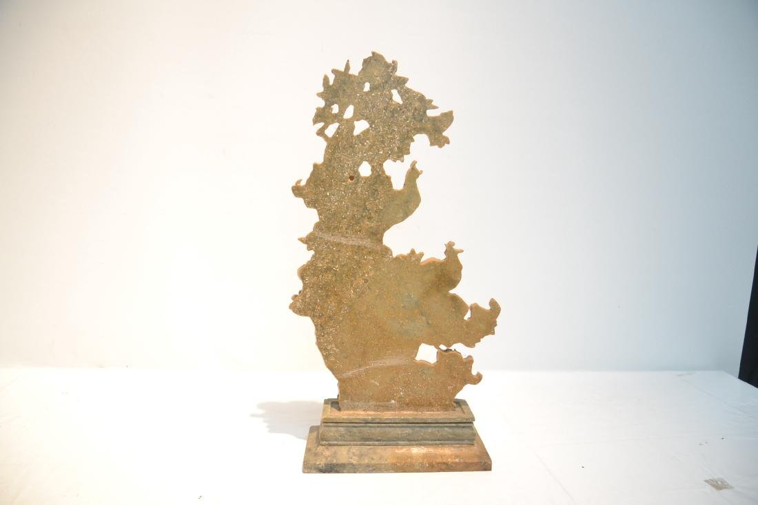 CARVED SOAPSTONE SCULPTURE OF BIRDS & FLOWERS - 5