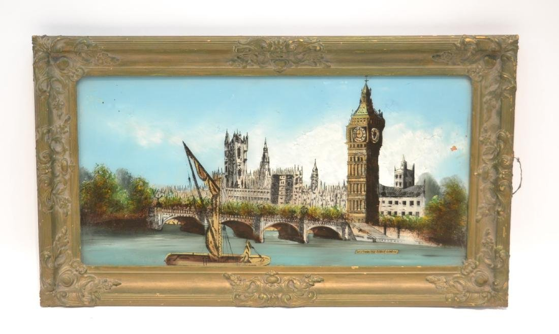 """REVERSE PAINTING ON GLASS OF """"WESTMINSTER BRIDGE"""""""