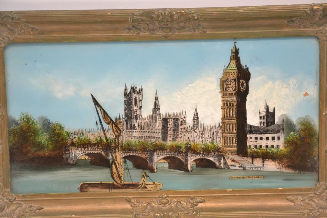 """REVERSE PAINTING ON GLASS OF """"WESTMINSTER BRIDGE"""" - 2"""