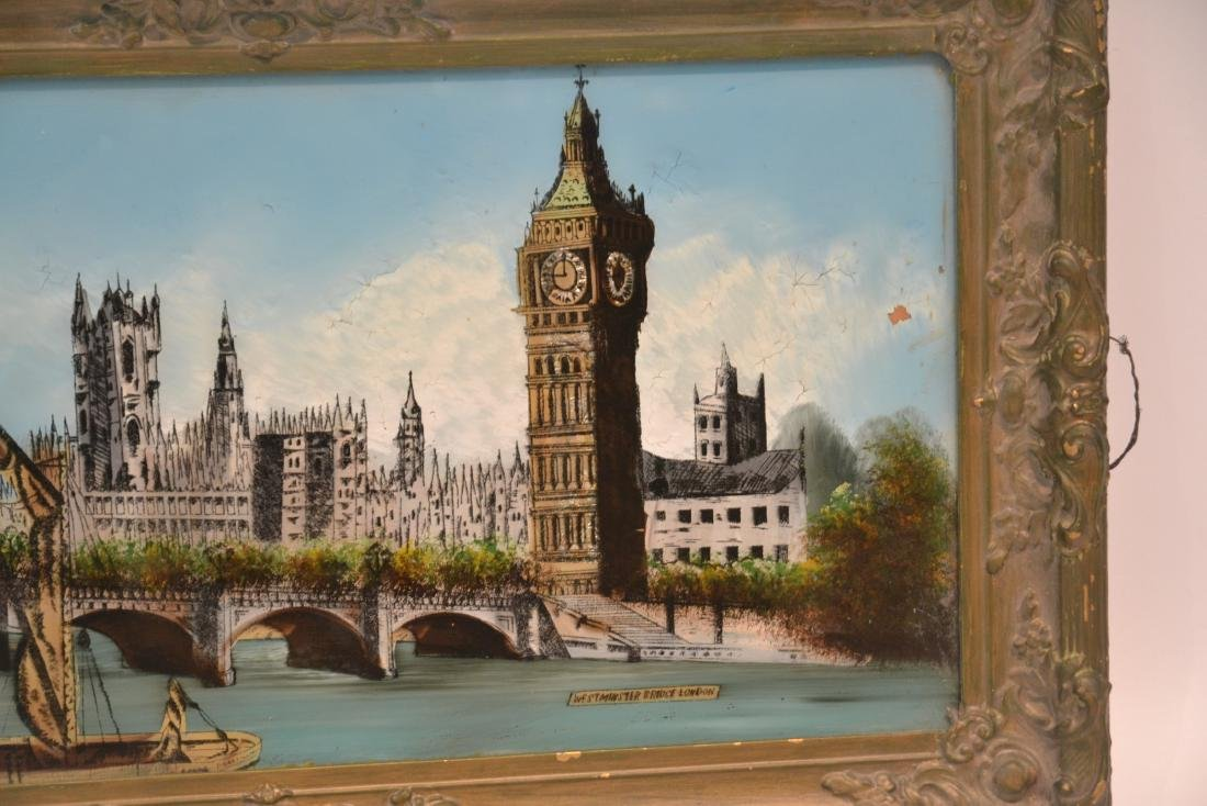 """REVERSE PAINTING ON GLASS OF """"WESTMINSTER BRIDGE"""" - 3"""