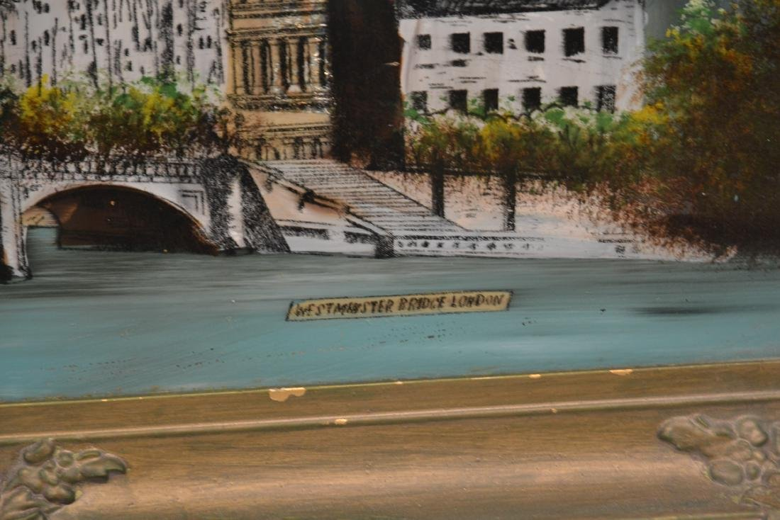 """REVERSE PAINTING ON GLASS OF """"WESTMINSTER BRIDGE"""" - 4"""