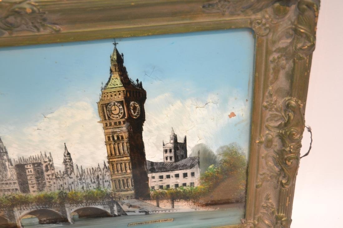 """REVERSE PAINTING ON GLASS OF """"WESTMINSTER BRIDGE"""" - 5"""